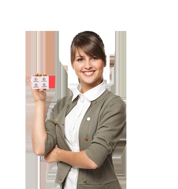 Mulher com selo convênio parkímetro